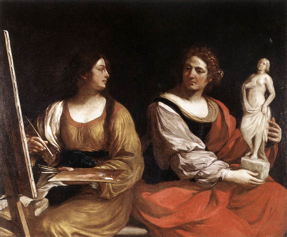GUERCINO Allegory of Painting and Sculpture sdg