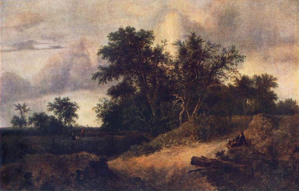 RUISDAEL, Jacob Isaackszon van Landscape with a House in the Grove at