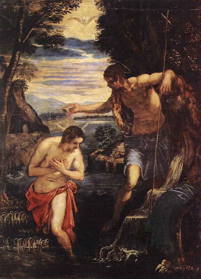 TINTORETTO, Jacopo Baptism of Christ  sd
