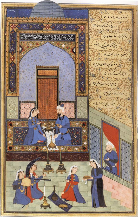 Ali She Nawat Prince Bahram-i-Gor,dressed in blue,listen to the tale of the Princess of the Blue Pavilion