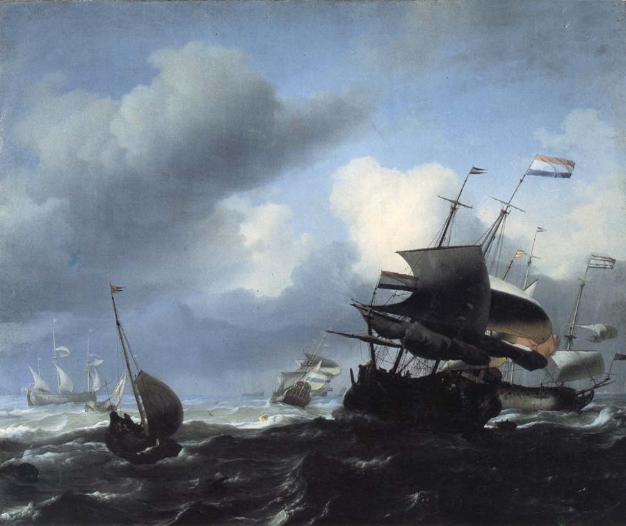 Ludolf Backhuysen Seascape with Ships