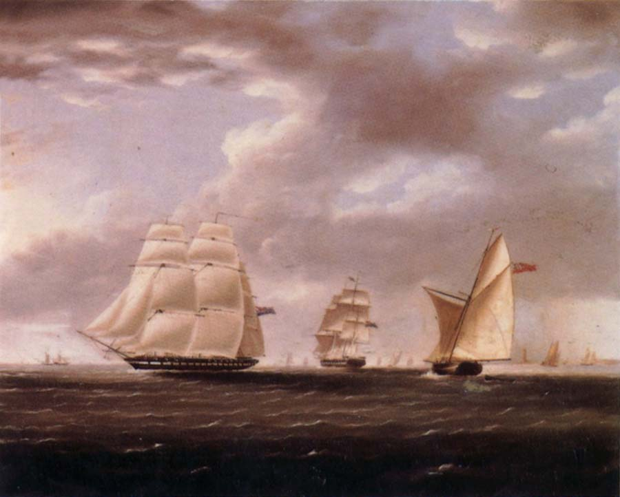 Thomas Buttersworth Two British frigates and a yawl passing off a coast