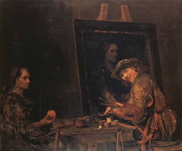 Arent De Gelder Self-Portrait Painting an Old Woman