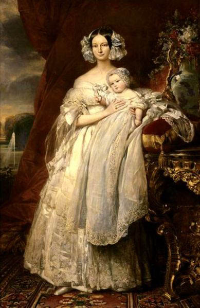 Franz Xaver Winterhalter Portrait of Helena of Mecklemburg-Schwerin, Duchess of Orleans with her son the Count of Paris