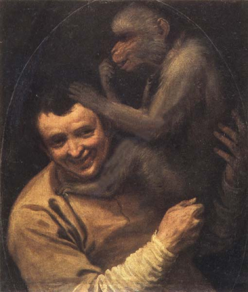 Annibale Carracci Portrait of a Young Man with a Monkey