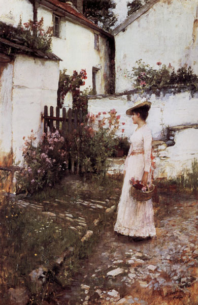 John William Waterhouse Gathering Flowers in a Devonshire Garden