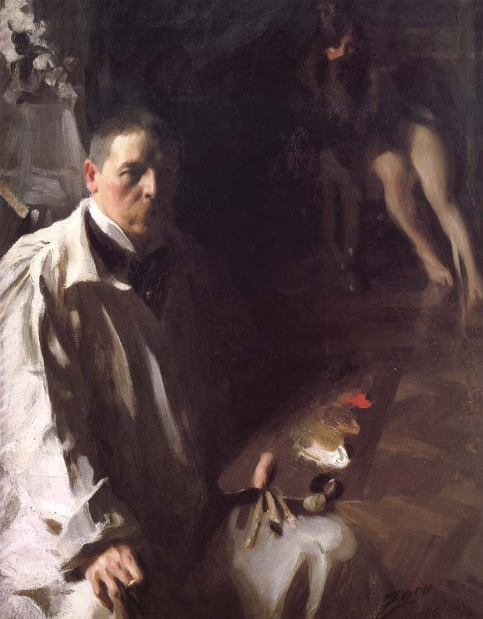 Anders Zorn Sailvportratt med modell(Self-portrait with a model)