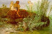 Arnold Bocklin Children Carving May Flutes Sweden oil painting reproduction