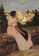 Frederic Bazille The Pink Dress Sweden oil painting reproduction