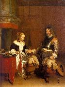Gerard Ter Borch Soldier Offering a Young Woman Coins oil painting artist