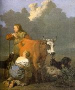 Karel Dujardin Woman Milking a Red Cow oil painting picture wholesale