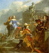 Nicholaes Berchem A Moor Presenting a Parrot to a Lady Sweden oil painting reproduction