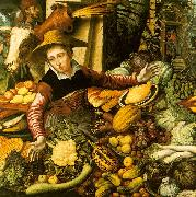 Pieter Aertsen Market Woman  with Vegetable Stall Sweden oil painting reproduction