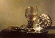 Pieter Claesz Still Life with Wine Glass and Silver Bowl Sweden oil painting reproduction
