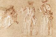 WATTEAU, Antoine Three Studies of a Lady with a Hat
