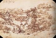 LEONARDO da Vinci, Landscape in the Arnotal