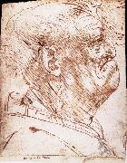 LEONARDO da Vinci, Grotesque profile of a man