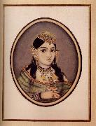 unknow artist, A Courtesan of Maharaja Sawai Ram Singh of Jaipur Dressed for the Spring Festival