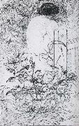 Carl Larsson, A Rose and a Back Etching