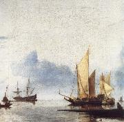 unknow artist, A Dutch Yacht and Other Vessels Becalmed Near the Shore