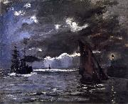 Claude Monet, A Seascape,Shipping by Moonlight
