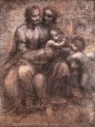 LEONARDO da Vinci, Madonna and Child with St Anne and the Young St John
