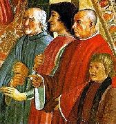 LEONARDO da Vinci, Lorenzo de Medici between Antonio Pucci and Francesco Sassetti, with Giulio de Medici, fresco by Ghirlandaio