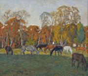 unknow artist, A landscape with horses,