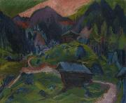 Ernst Ludwig Kirchner, Kummeralp Mountain and Two Sheds
