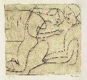 Ernst Ludwig Kirchner, Lovers in the bibliothek - etching