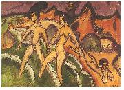 Ernst Ludwig Kirchner, Female nudes striding into the sea
