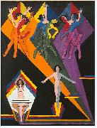 Ernst Ludwig Kirchner, Dancing girls in colourful rays