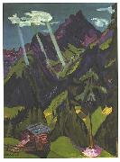 Ernst Ludwig Kirchner, Landscape in Graubunder with sun rays