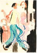 Ernst Ludwig Kirchner, Dancing couple - Watercolour and ink over pencil
