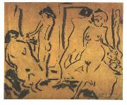 Ernst Ludwig Kirchner, Female nudes in a atelier