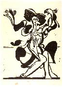 Ernst Ludwig Kirchner, Dancing Mary Wigman - Woodcut