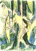 Ernst Ludwig Kirchner, Arching girls in the wood - Crayons and pencil
