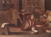 unknow artist, A Kitchen still life of utensils and fruit in a basket,shelves with wine caskets beyond