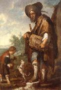 unknow artist, A Blind man playing a hurdy-gurdy,together with a young boy playing the drums,with a dancing dog