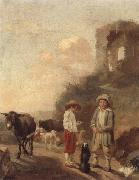 unknow artist, A landscape with young boys tending their animals before a set of ruins