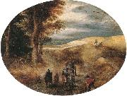 unknow artist, A Hilly landscape with a Horse-Drawn cart and other