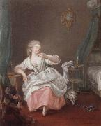 unknow artist, A bedroom interior with a young girl holding a song bird