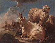 unknow artist An evening landscape with goat and sheep resting in the foreground,a herdsman beyond