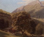 unknow artist, A mountainous landscape with a maid before a chalet in a valley
