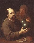 unknow artist, A man seated at a table holding a flagon,a servant offering him a glass of wine