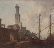 unknow artist, A Port scene with figures loading a boat
