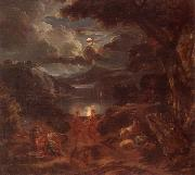 unknow artist, A pastoral scene with shepherds and nymphs dancing in the moonlight by the edge of a lake