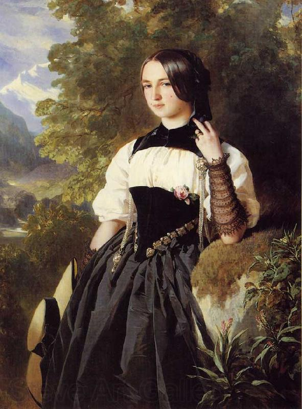 Franz Xaver Winterhalter A Swiss Girl from Interlaken