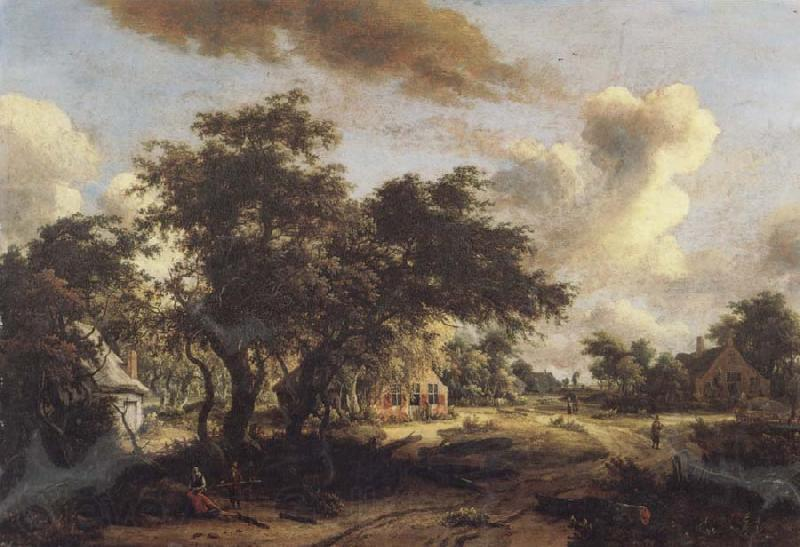Meindert Hobbema Village with Water Mill Among Trees