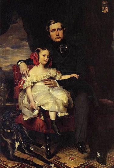 Franz Xaver Winterhalter Portrait of the Prince de Wagram and his daughter Malcy Louise Caroline Frederique